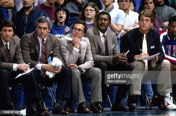 Kansas coach Larry Brown with assistant Ed Manning on bench during game vs Oklahoma State at Allen Fieldhouse Ed is the father of Danny Manning...