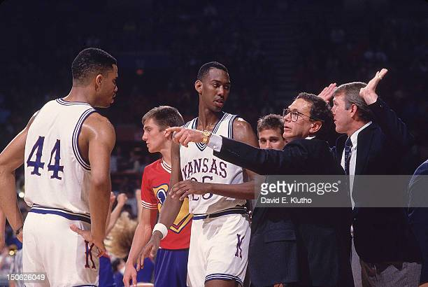 Kansas Danny Manning with coach Larry Brown and assistant coach Gregg Popovich during game vs Temple at Allen Fieldhouse Lawrence KS CREDIT David E...