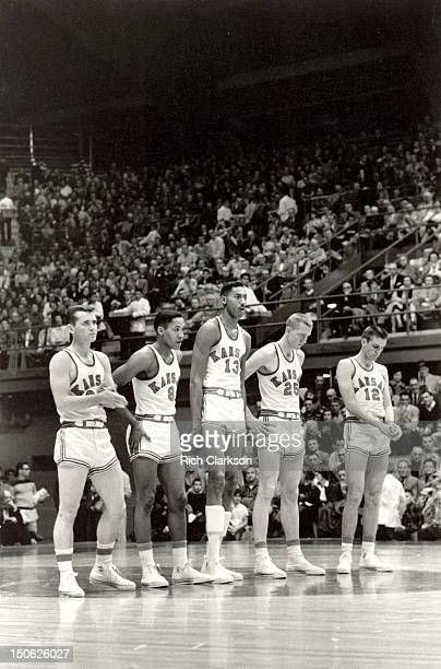 Kansas starting lineup Lee Green Maurice King Wilt Chamberlain Lewis Johnson and Gene Elstun before game vs Iowa State at Allen Fieldhouse Lawrence...