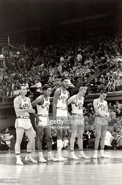 Kansas starting lineup Lee Green Maurice King Wilt Chamberlain Lewis Johnson and Gene Elstun before game vs Iowa State at Allen Fieldhouse Lawrence...
