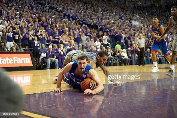 Kansas Tyrel Reed in action vs Kansas State Rodney McGruder at Bramlage ColiseumManhattan KS 2/14/2011CREDIT Greg Nelson
