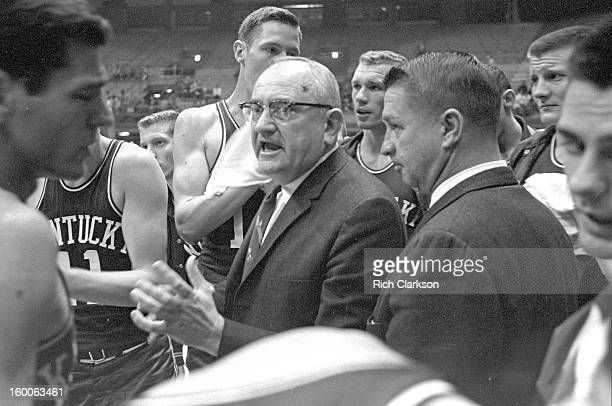 Kentucky coach Adolph Rupp during timeout during game vs Kansas at Allen Fieldhouse Lawrence KS CREDIT Rich Clarkson