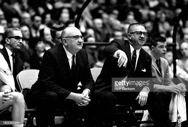Kentucky coach Adolph Rupp on bench during game vs Mississippi at Memorial Coliseum Lexington KY CREDIT Rich Clarkson