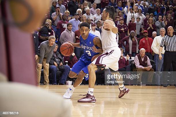 Kentucky Tyler Ulis in action vs Texas AM Alex Robinson at Reed Arena College Station TX CREDIT Greg Nelson