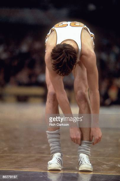 Louisiana State Pete Maravich adjusting his socks on court during game vs Kentucky Baton Rouge LA 2/21/1970 CREDIT Rich Clarkson