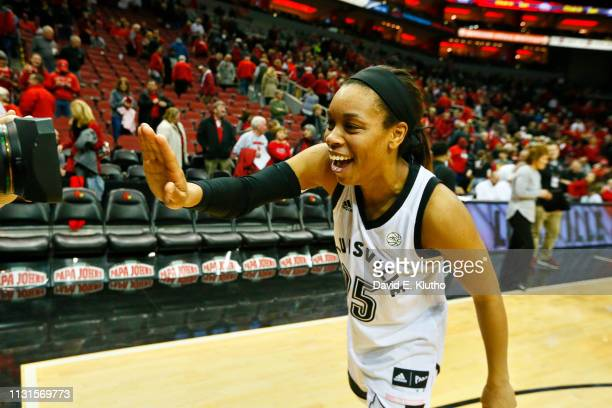 Louisville Asia Durr victorious after game vs North Carolina State at KFC Yum Center Louisville KY CREDIT David E Klutho