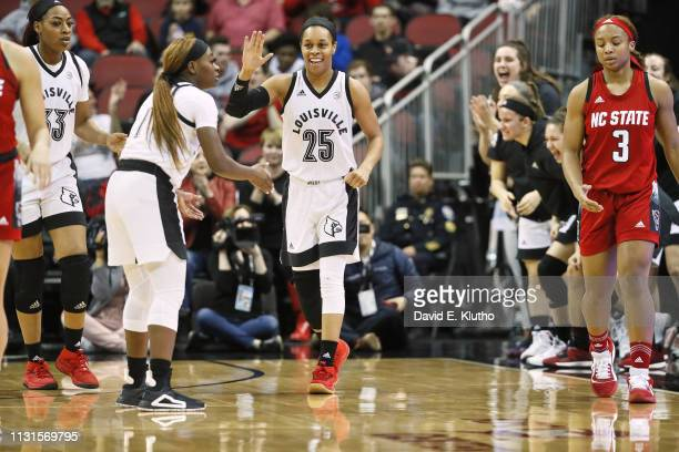 Louisville Asia Durr victorious during game vs North Carolina State at KFC Yum Center Louisville KY CREDIT David E Klutho
