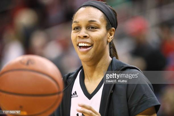 Louisville Asia Durr warming up before game vs North Carolina State at KFC Yum Center Louisville KY CREDIT David E Klutho