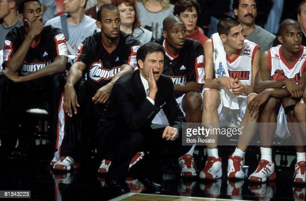 College Basketball: Louisville coach Rick Pitino during game vs EA Sports California All Stars at Freedom Hall, Louisville, KY