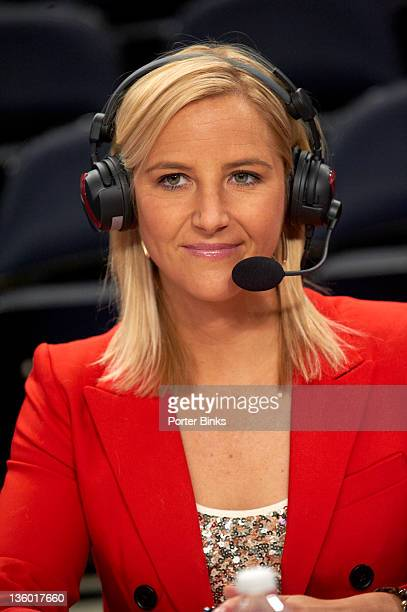 Maggie Dixon Classic: Closeup of ESPNU announcer Brooke Weisbrod before St. John's vs Baylor game at Madison Square Garden. New York, NY CREDIT:...