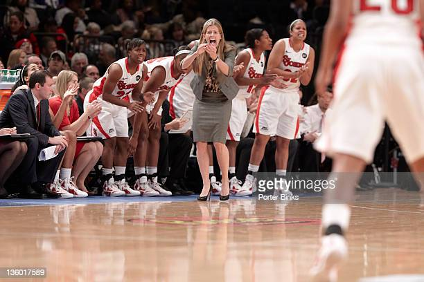 Maggie Dixon Classic: St. John's coach Kim Barnes on sidelines during game vs Baylor at Madison Square Garden. New York, NY CREDIT: Porter Binks