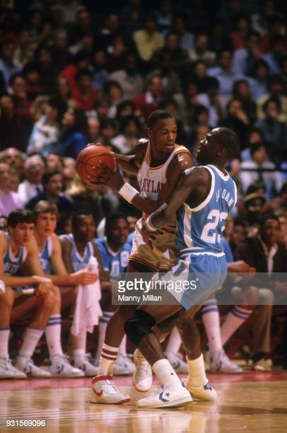 Maryland Len Bias in action vs North Carolina Michael Jordan at Cole Field House. College Park, MD 1/12/1984 CREDIT: Manny Millan