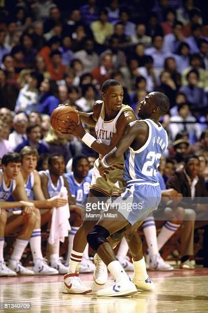 College Basketball: Maryland Len Bias in action vs North Carolina Michael Jordan , College Park, MD 1/12/1984