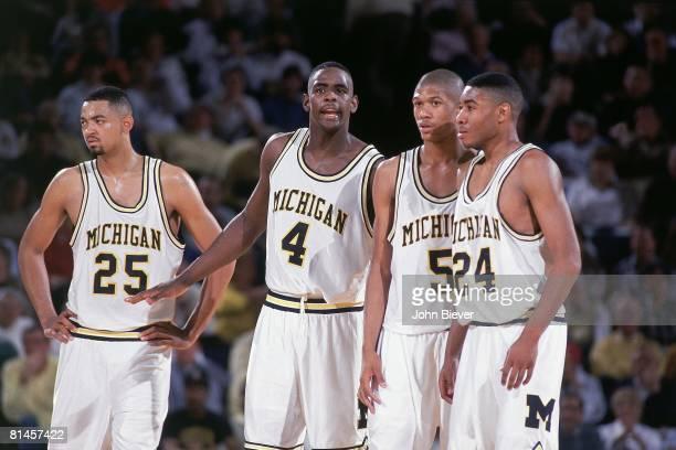 College Basketball Michigan Juwan Howard Chris Webber Jalen Rose and Jimmy King on court during game vs Indiana Ann Arbor MI 3/8/1992