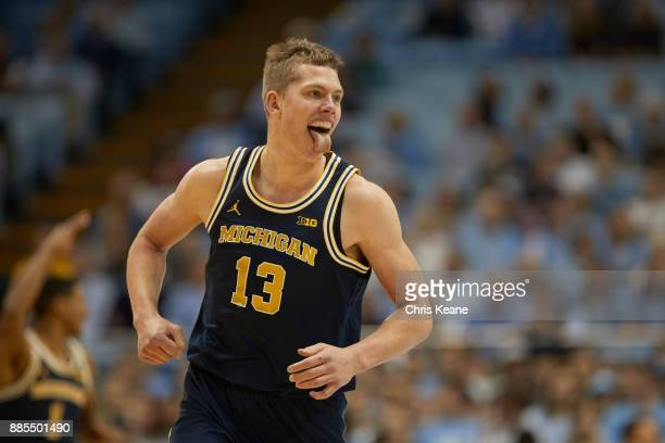 Michigan Moritz Wagner victorious during game vs North Carolina at Dean Smith Center Wagner sticking out tongue Chapel Hill NC CREDIT Chris Keane