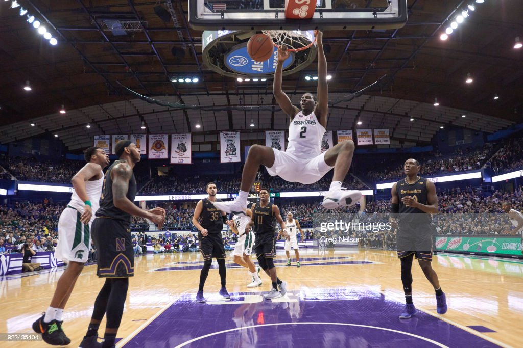 Michigan State Jaren Jackson Jr. (2) in action, dunking vs Northwestern at Allstate Arena. Greg Nelson TK1 )