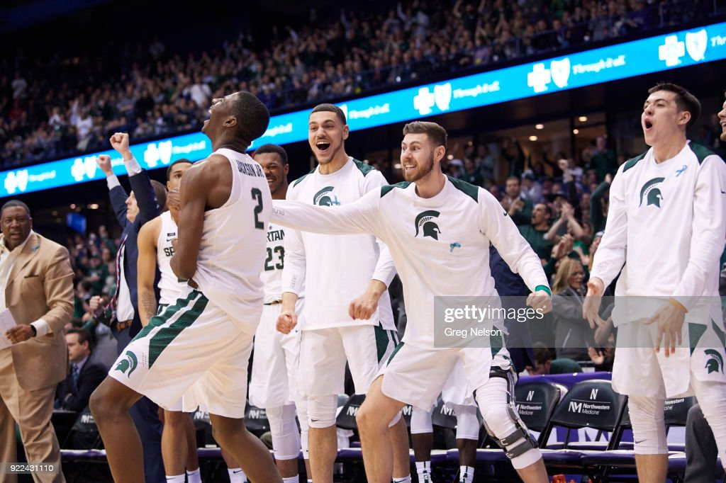 Michigan State Jaren Jackson Jr. (2) victorious with teammates from bench during game vs Northwestern at Allstate Arena. Greg Nelson TK1 )