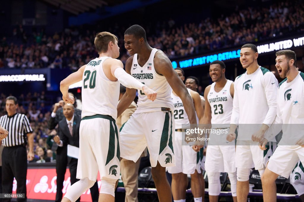 Michigan State Jaren Jackson Jr. (2) victorious with Matt McQuaid (20) during game vs Northwestern at Allstate Arena. Greg Nelson TK1 )