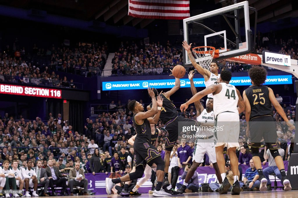 Michigan State Miles Bridges (22) in action, defense vs Northwestern Vic Law (4) at Allstate Arena. Greg Nelson TK1 )