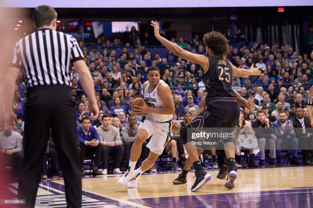 Michigan State Miles Bridges (22) in action vs Northwestern at Allstate Arena. Greg Nelson TK1 )