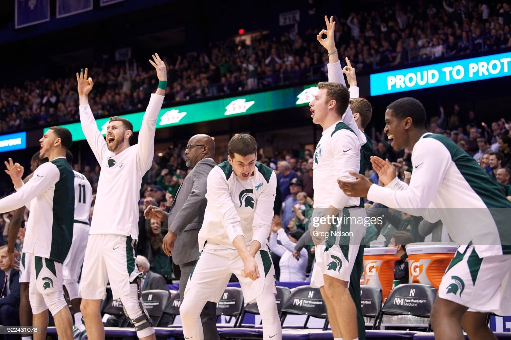 Michigan State players victorious from bench during game vs Northwestern at Allstate Arena. Greg Nelson TK1 )