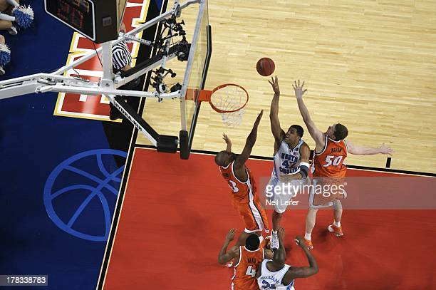 NCAA Final Four Aerial view of North Carolina Sean May in action taking shot vs Illinois at Edward Jones Dome St Louis MO CREDIT Neil Leifer
