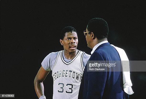 College Basketball NCAA Final Four Closeup of Georgetown Patrick Ewing with coach John Thompson during game vs Kentucky Seattle WA 3/31/1984