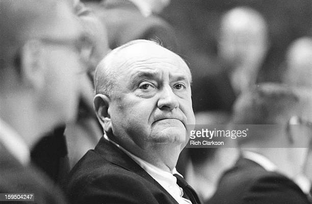NCAA Final Four Closeup of Kentucky coach Adolph Rupp on sidelines during game vs Texas Western at Cole Field House College Park MD CREDIT Rich...