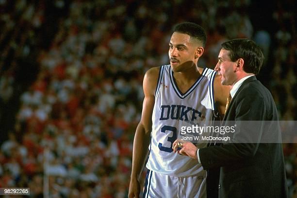 NCAA Final Four Duke coach Mike Krzyzewski talking to player Grant Hill during game vs Indiana at HH Humphrey Metrodome Minneapolis MN 4/4/1992...