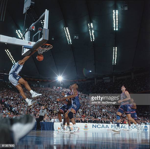College Basketball NCAA Final Four Duke Grant Hill in action making dunk vs Kansas Indianapolis IN 4/1/1991