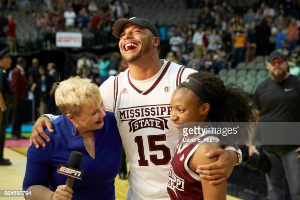 NCAA Final Four Former Mississippi State QB Dak Prescott with Morgan William during interview with ESPN sideline reporter Holly Rowe after winning...