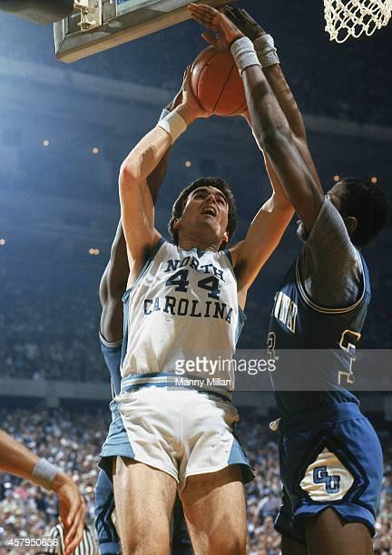 NCAA Final Four Georgetown Patrick Ewing in action blocking shot vs North Carolina Matt Doherty at Louisiana Superdome New Orleans LA CREDIT Manny...