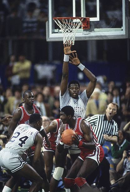 NCAA Final Four Georgetown Patrick Ewing 33 In Action Playing Defense Vs