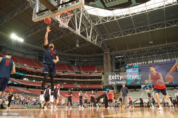 NCAA Final Four Gonzaga Silas Melson during practice before National Semifinals at University of Pholenix Stadium Glendale AZ CREDIT Greg Nelson