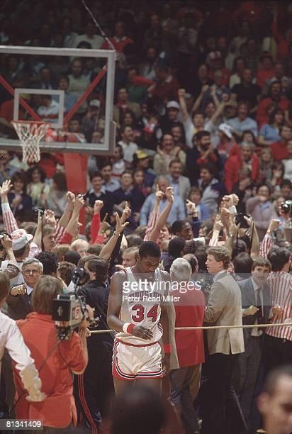 College Basketball NCAA Final Four Houston Akeem Olajuwon upset after losing championship game vs North Carolina State Albuquerque NM 4/4/1983