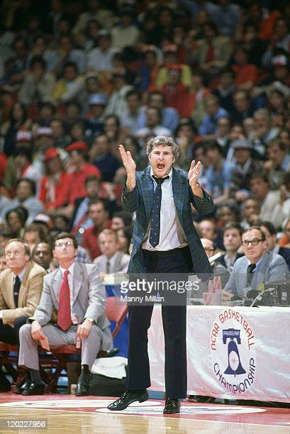 NCAA Final Four Indiana head coach Bobby Knight on sidelines during championship game vs North Carolina at The Spectrum Philadelphia PA CREDIT Manny...