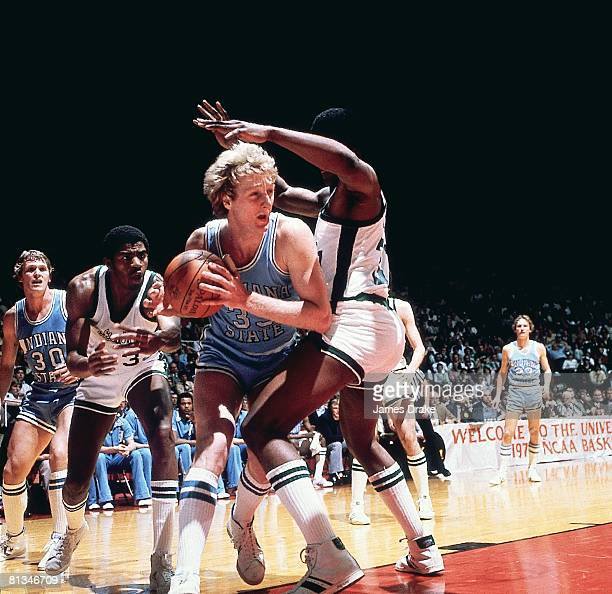 College Basketball NCAA Final Four Indiana State Larry Bird in action vs Michigan State Magic Johnson Salt Lake City UT 3/26/1979