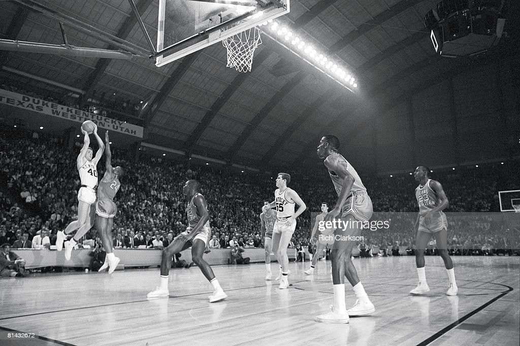 NCAA Final Four, Kentucky Larry Conley (40) in action, taking shot vs Texas Western Willie Worsley (24), College Park, MD 3/19/1966
