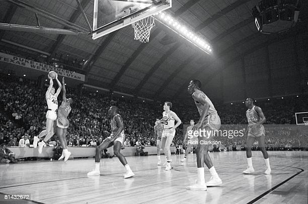 College Basketball NCAA Final Four Kentucky Larry Conley in action taking shot vs Texas Western Willie Worsley College Park MD 3/19/1966
