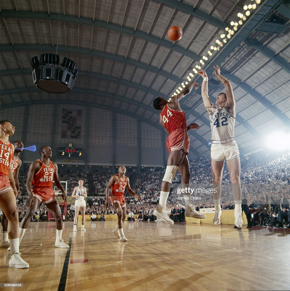 Kentucky Pat Riley (42) in action, shot vs Texas Western Harry Flournoy (44) at Cole Field House James Drake X11505 TK2 )