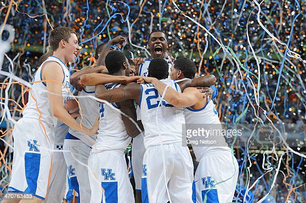 Final Four: Kentucky Terrence Jones victorious with teammates during celebration after winning National Championship game vs Kansas at Mercedes-Benz...