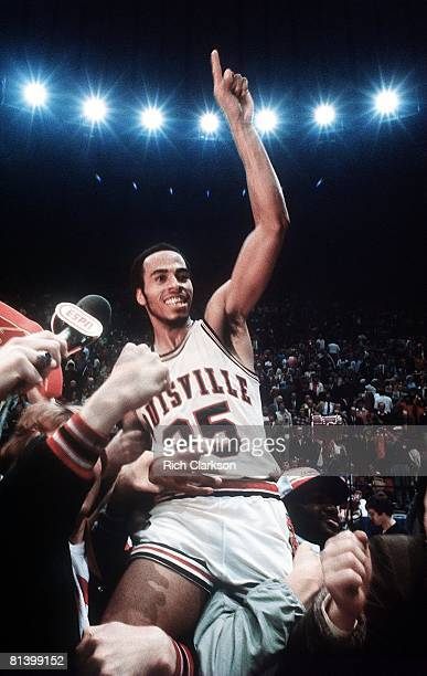 College Basketball NCAA Final Four Louisville Darrell Griffith victorious getting carried off court by team after winning game vs UCLA Indianapolis...