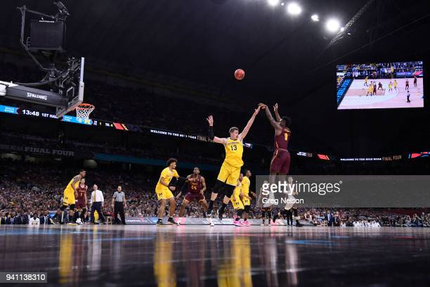 NCAA Final Four Loyola Chicago Donte Ingram in action shooting vs Michigan Moritz Wagner at Alamodome San Antonio TX CREDIT Greg Nelson