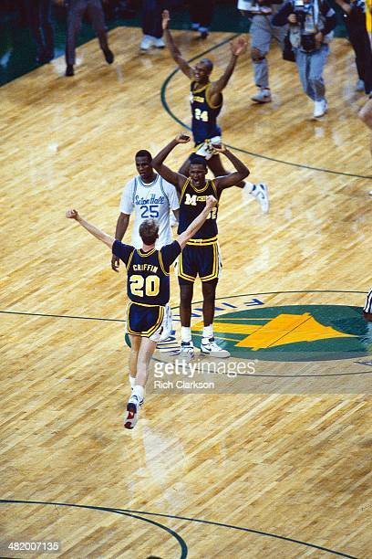 NCAA Final Four Michigan Mike Griffin Terry Mills and Sean Higgins victorious after winning National Championship game in overtime vs Seton Hall...