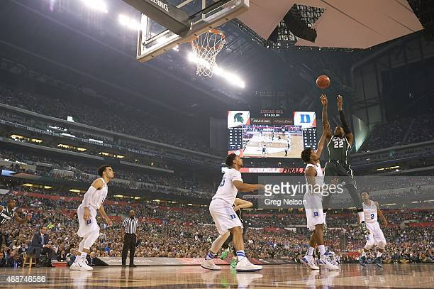 Final Four: Michigan State Branden Dawson in action, shot vs Duke at Lucas Oil Stadium. Indianapolis, IN 4/4/2015 CREDIT: Greg Nelson