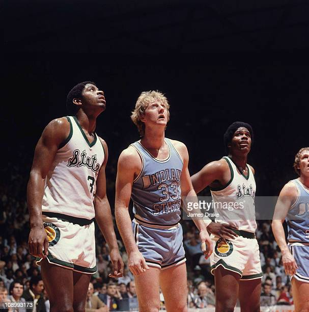 NCAA Final Four Michigan State Earvin 'Magic' Johnson and Indiana State Larry Bird lining up for foul shot during game at Special Events Center Salt...