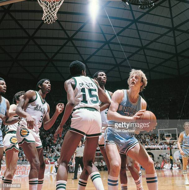 NCAA Final Four Michigan State Earvin Magic Johnson in action vs Indiana State Larry Bird during National Championship game at Special Events Center...
