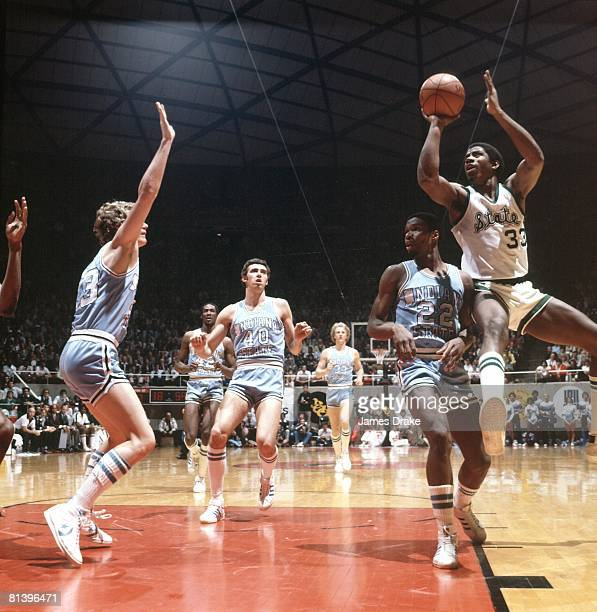 College Basketball NCAA Final Four Michigan State Magic Johnson in action taking shot vs Indiana State Salt Lake City UT 3/26/1979