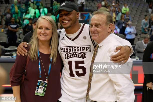 NCAA Final Four Mississippi State coach Vic Schaefer posing with wife Holly and former QB Dak Prescott after winning game vs UConn at American...