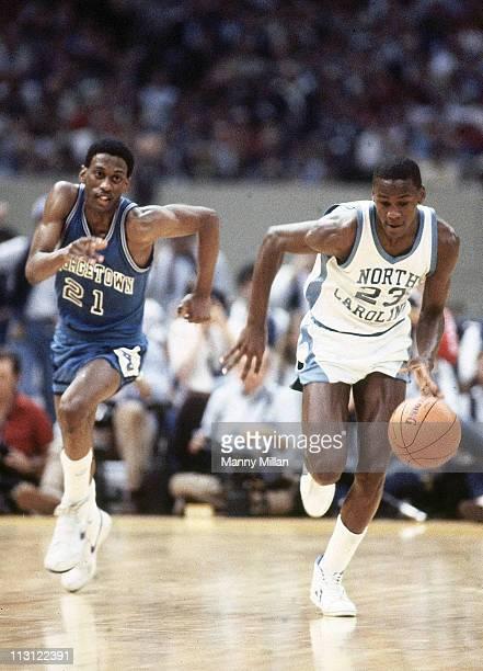 NCAA Final Four North Carolina Michael Jordan in action vs Georgetown Eric Sleepy Floyd at Louisiana Superdome New Orleans LA 3/29/1982CREDIT Manny...